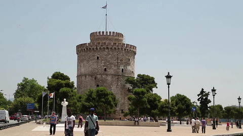 White tower and people on the waterfront in Thessaloniki, Greece Footage