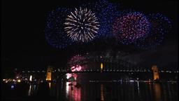 New Years Eve fireworks on Sydney Harbour Bridge at 60fps-1 Footage