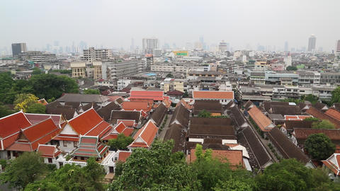 Panorama of Bangkok downtown. View from Golden Mountain, Wat Saket Footage