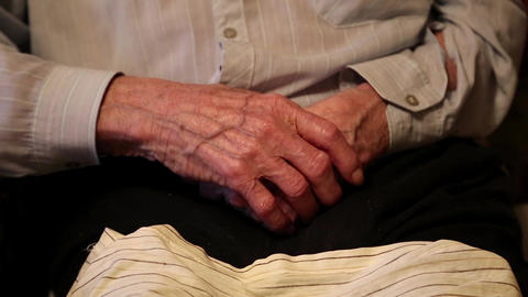 Hands of 93-year old man after two cerebral strokes Footage