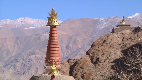 Stupas and Buddha Statue Footage