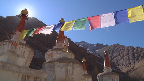 Stupas and Prayer Flags Footage