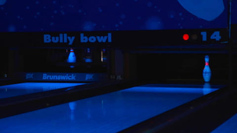 closeup - bowling ball missing pin Footage