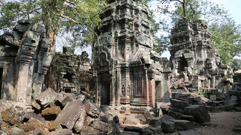 Angkor Thom temple complex in Cambodia Footage