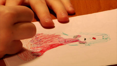 drawing child close-up Footage