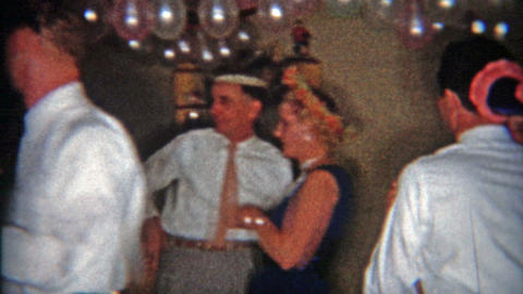 1953: New Year's Eve Dancing Party In Balloon Lined Basement stock footage