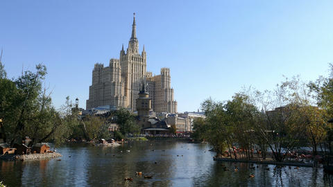 The Pond Of The Moscow Zoo On A Background Of The Stalinist Skyscraper stock footage