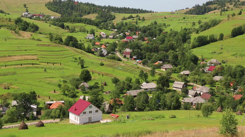 Beautiful green hills and village, Carpathians, Ukraine Footage