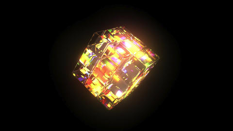 Kaleidoscope: Cube 3D Model Rainbow Colours - 6 second Loop Stock Video Footage