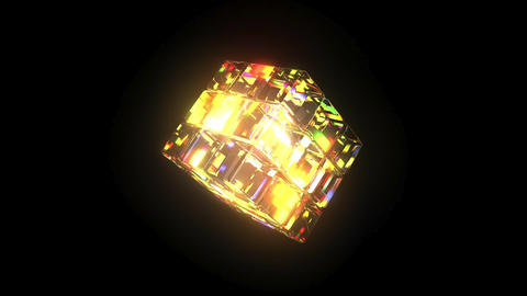 Kaleidoscope: Cube 3D Model Rainbow Colours - 6 second Loop Stock Video Footage