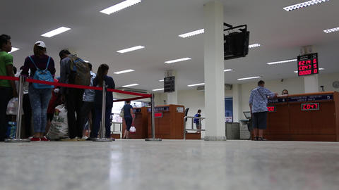 People at passport checkpoint at Thailand-Cambodia state frontier Footage