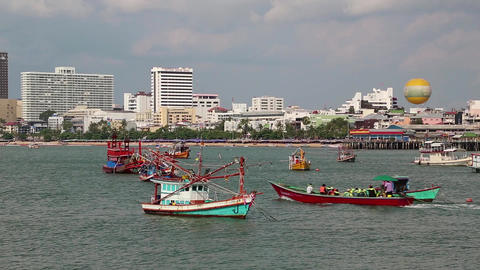 Boats In Pattaya Bay, Gulf Of Siam, Thailand stock footage