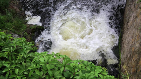 Foamy water of waterfall Footage