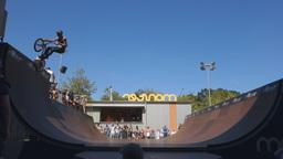 bmx rider at skatepark Footage