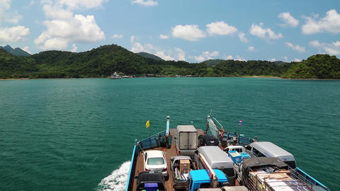 Ferry Sails To The Koh-Chang Island, Gulf Of Siam In Thailand stock footage
