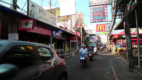 Walking Street is red-light district with many restaurants, go-go bars, brothels Footage