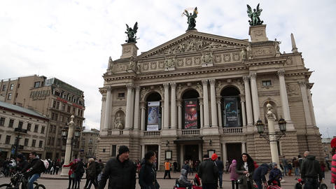 People near opera and ballet theater in Lviv, Western Ukraine Footage