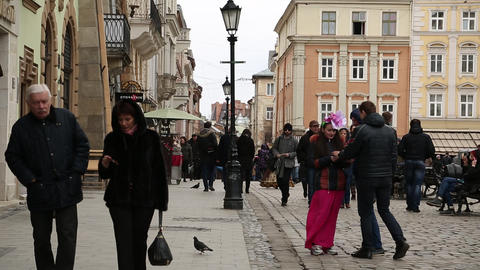 People on the Market Square in Lviv, Western Ukraine Footage