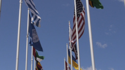 flags of the UN, US and UK Footage