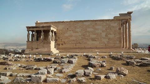 Erechtheion - antique temple in Athenian Acropolis, Greece Footage