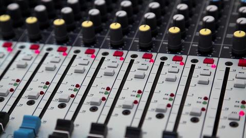 Audio production console in audio recording studio Live Action