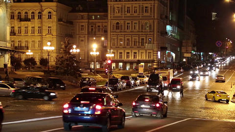 Road traffic near opera house in Kiev, Ukraine Footage