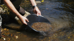 gold panning Footage