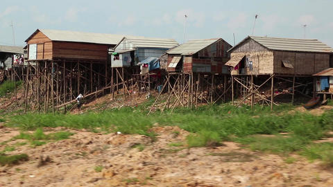Floating village of Vietnamese refugees on Tonle Sap lake in Cambodia Footage
