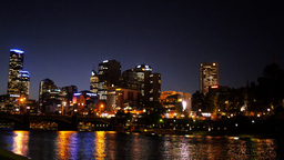 melbourne night skyline pan Footage