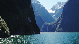 Milford Sound Cruise stock footage