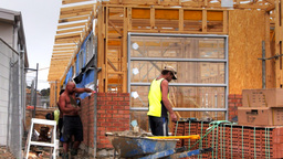 bricklayers building a wall Footage