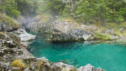 misty new zealand gorge Footage