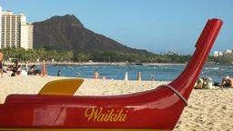 outrigger canoe at waikiki beach Footage