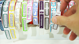 colorful pharmacy labels Footage