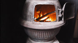 Fire in a pot belly stove Footage