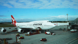 Qantas 747 At Airport stock footage
