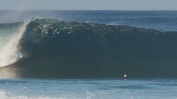 Surfer Tube Ride Pipeline stock footage