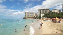 holidaymakers at the main beach waikiki Footage