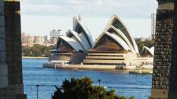sydney opera house from bridge Footage
