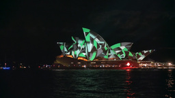 Green Patterned Sydney Opera House stock footage