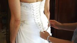 wedding dress lacing Footage