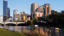 Melbourne From Yarra River stock footage