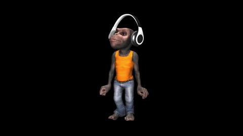 Monkey Dancing in Headphones - Male Chimp - VJ Loop - Alpha Animation