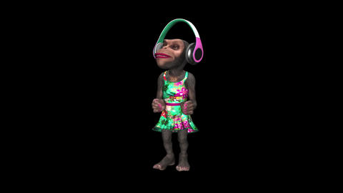 Monkey Dancing in Headphones - Female Chimp - I - VJ Loop - Alpha Animation