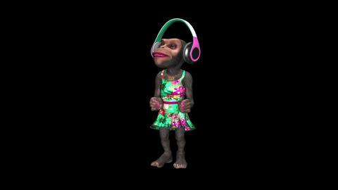 Monkey Dancing in Headphones - Female Chimp - I - VJ Loop - Alpha Animation