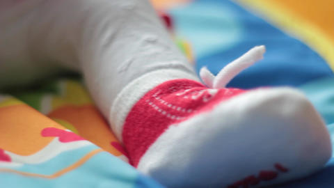 Baby Foot With Socks stock footage