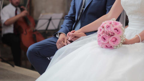 Bride And Groom During The Ceremony In Church stock footage