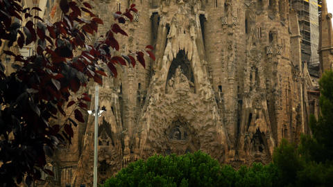Sagrada Familia Temple in Barcelona detail Footage