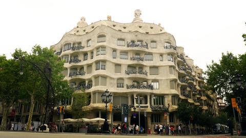 Gaudi Pedrera building in Barcelona Footage
