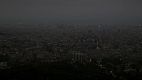 Night Shot Of Barcelona Landscape From Collserola Park stock footage